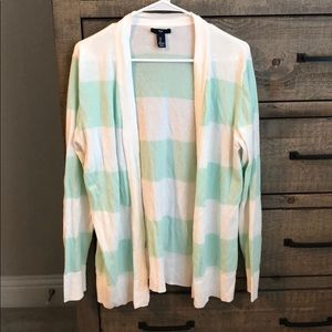 Teal and white stripe cardigan